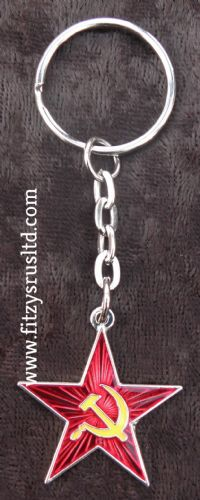 Hammer & Sickle Red Star Communist Keyring Revolution Socialist USSR Key Ring